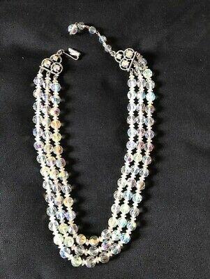 60s -70s Jewelry – Necklaces, Earrings, Rings, Bracelets Vintage Aurora Borealis 3 Strand Necklace 1960s   $20.73 AT vintagedancer.com