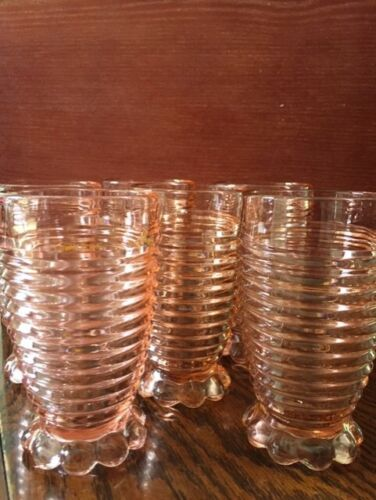 1938-1943 Anchor Hocking 6 Manhattan Pink 10oz Tumblers Ribbed Footed Vintage