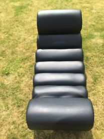 Dwell Black Leather Rocker/Chill Chair