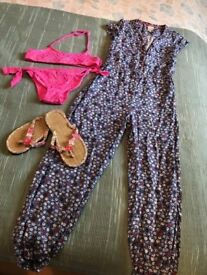 Monsoon jumpsuit, bikini and flip flops - age 9
