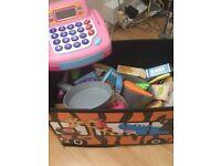 Toy food shop and cash register