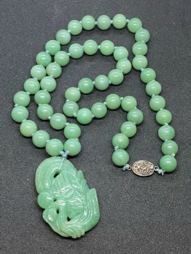 Vintage Jade Beaded Necklace with Carved Pendant & Silver Clasp