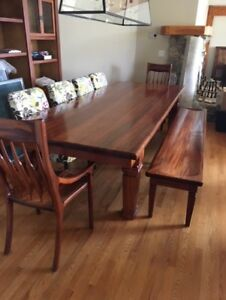 African Mahogany Dining Table, Bench and Chairs