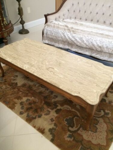 Antique Vintage Mid Century Beige Marble Wood French Coffee Table Rectangular