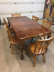 Pine Table And Hardwood Chair Set