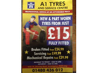 Part worn tyres from just £15 fitted and balanced.