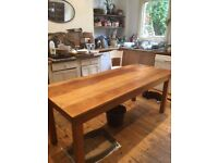 Solid wood probably beech or pine vintage large kitchen table