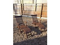 Solid Teak reclinable garden Steamers / Loungers / Chairs in Excellent Condition (with cushions)