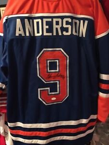 GLENN ANDERSON OILERS CHANDAIL JERSEY SIGNÉ AUTHENTIQUE COA NH