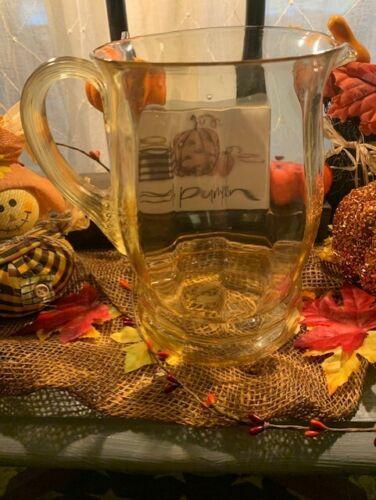 "MacBeth-Evans Yellow Topaz Depression Glass Pitcher Ribbed-Optic design 8"" 80oz"