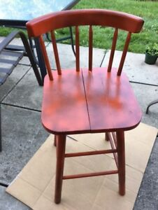 """34"""" high red painted wooden chair - $35"""