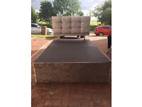 QUEEN SIZE BED AND HEADBOARD SURROUNDED IN CRUSHED VELVET