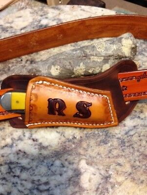 QUALITY CRAFTED MONOGRAMMED CROSS DRAW KNIFE SHEATH FOR TRAPPER STYLE KNIVES