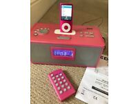Apple iPOD Nano 4th Generation 8GB, charger, earphones, carry bag and dock.