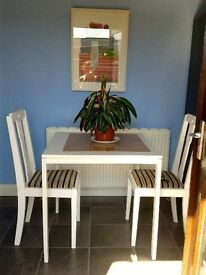 White Kitchen Table and 4 Matching Chairs