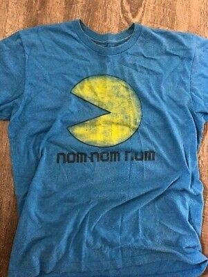 L- Pac Man fever nom nom nom T- Shirt Blue Pacman Large Ships Fast!