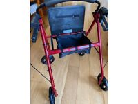 4 Wheeled Rollator, adjustable handle height, with seat and backrest