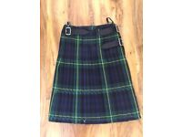 "kilt 18 oz heavy weight,100% pure new wool. waist 30/32"" Length 23"""
