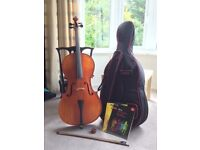 Hidersine full size cello, excellent condition (includes: case, bow, rosin and books)