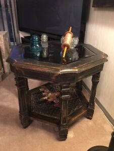 Dark burnished accent table