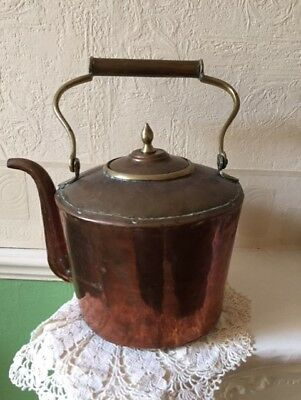 Antique Georgian Copper Kettle Hand Made Over the Fire Type
