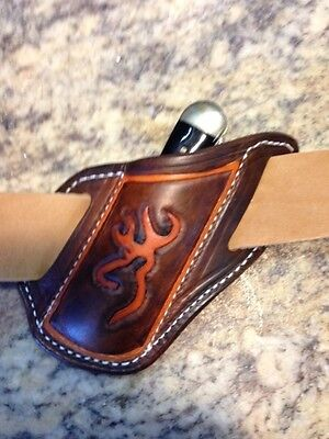 Tooled Quick Draw Pancake Sheath For Trapper Style Knives