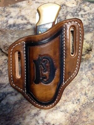 Tooled Monogrammed pancake style Knife sheath for the Buck 110