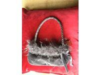 Ladies Grey Velvet and Feathers Evening Handbag