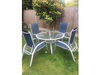 Garden Set Glass Top Table and 4 Chairs Weather Proof