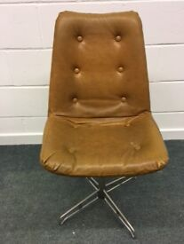 Swivel Chair Vintage 70's Office Seating Retro Chesterfield style - vinyl chrome
