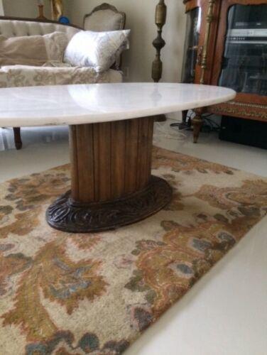 Mid Century Italian Style Marble Wood Oval Coffee Table