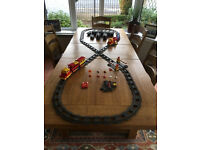 Lego Duplo train set, carriages, lots of track and accessories