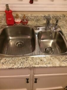 23' Kitchen Counter, Double Sink, Faucet with Spray+Bonus