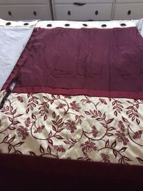 2 Pairs of Curtains Eyelet Burgandy and Cream 66 x 54