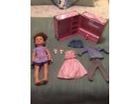 Design a friend large doll, wardrobe and 3 outfits