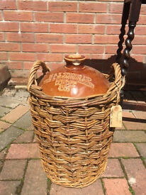 Vintage Stoneware Wine/Spirit Flagon in Wicker Basket Holder
