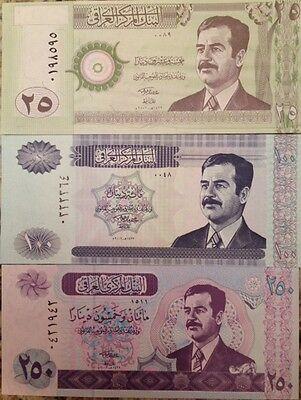 IRAQ SADDAM HUSSEIN IRAQI GULF WAR DINAR UNC (3) BANKNOTE COLLECTOR SET RARE !!!
