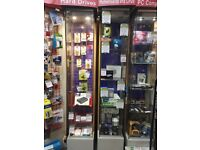 Lockable Tall Glass Display Cabinets (with internal spotlights) - Retail Shop Display Fittings (ix)