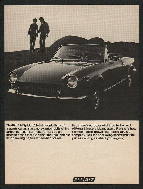 1970 FIAT 124 Spider Convertible Sports Car VINTAGE AD