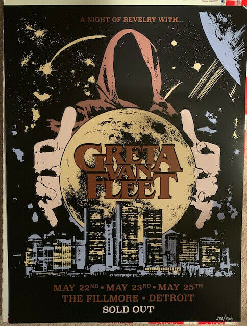 Greta Van Fleet Detroit Fillmore Concert Show Poster 2018 - Hard to find