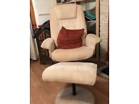 Orthopaedic Fabric Recliner Chair and Stool