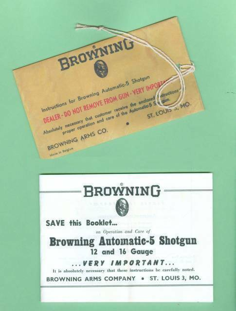 Browning  Model A5 1950's Owners Manual Reproduction