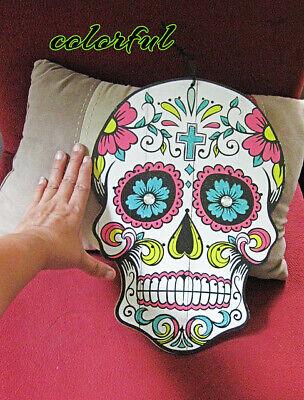 Sugar Skull Saprkly Colorful Decor Wall Day Of The Dead Fiesta 1november Tribal