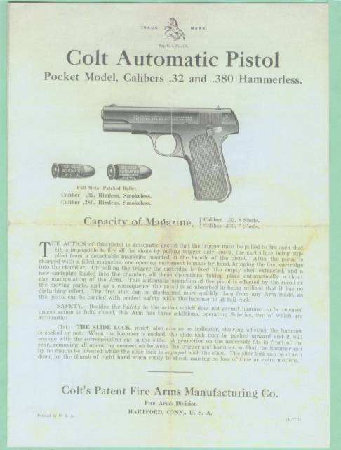 Colt Model Pocket 32  & 380 1903 & 1908 Owners Manual Reproduction