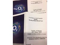 2x Drake: Boy Meets World Tour Tickets – Standing – 02 Arena London – 14th February 2017