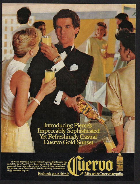 1986 CUERVO Tequila - PIERCE BROSNAN - JAMES BOND 007 - VINTAGE ADVERTISEMENT