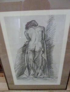 LITHOGRAPHIE FEMME NUE- 30½ X 22¼ - NAKED WOMAN LITHOGRAPHY