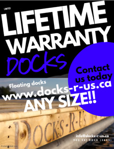 LIFETIME WARRANTY on Docks R Us floats