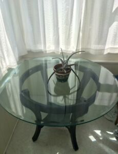 Brand New Glass with Wood Base Table