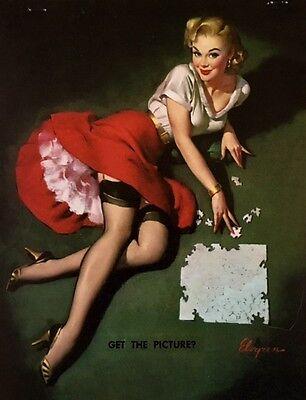 PICTURE VINTAGE ELVGREN Pinup Girl Calendar Stockings Leg Show Pin-Up UpSkirt segunda mano  Embacar hacia Argentina